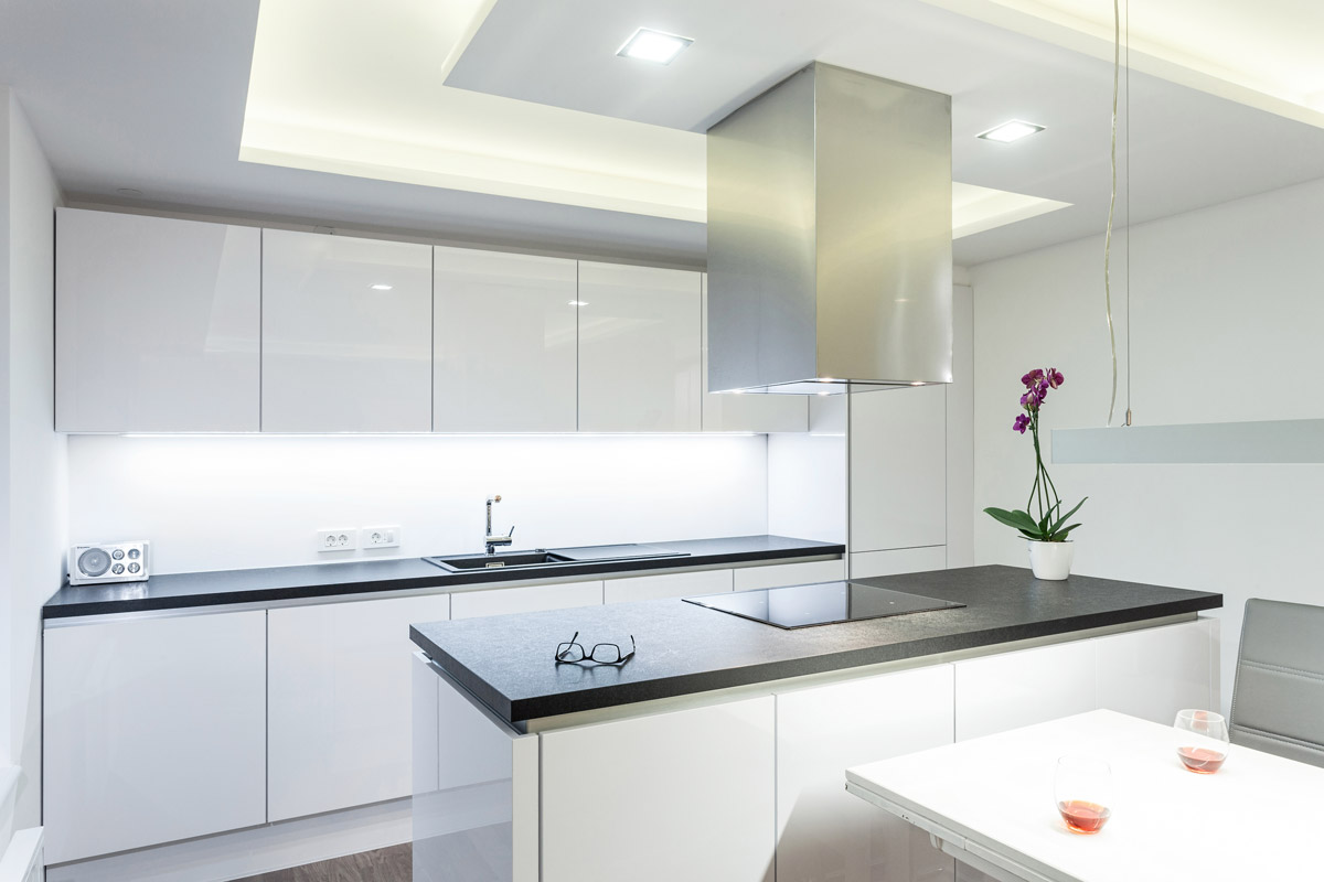 Modern white renovated kitchen