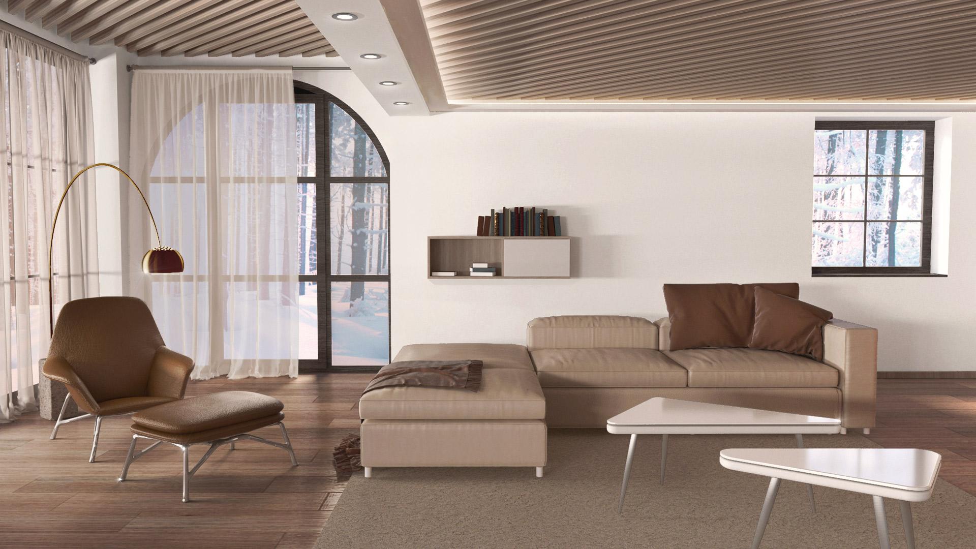 Vizualizacija: notranje oblikovanje dnevne sobe