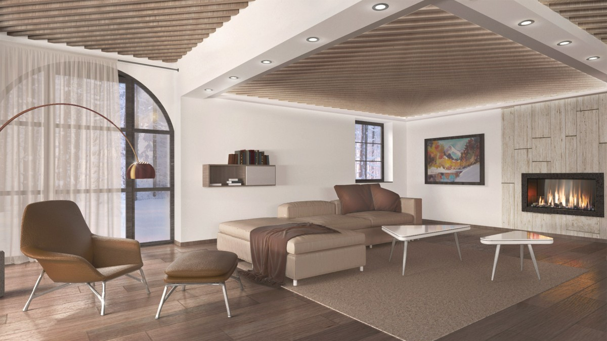 Vizulizacija: notranje oblikovanje dnevne sobe