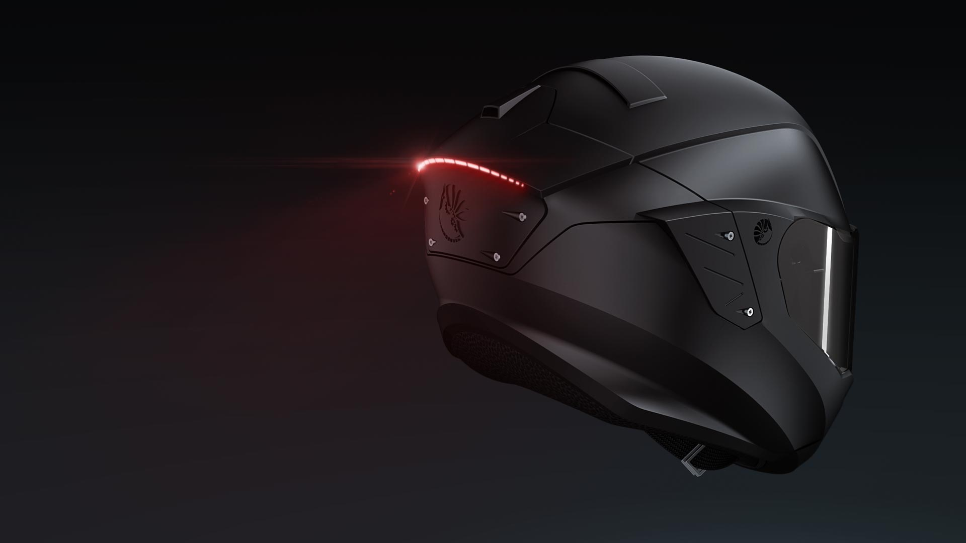 Motorcycle helmet design back light