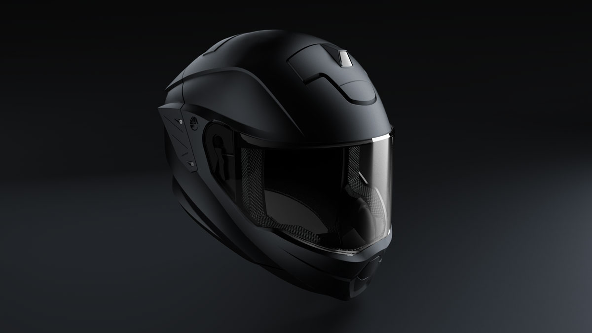 Industrial design: black helmet side view