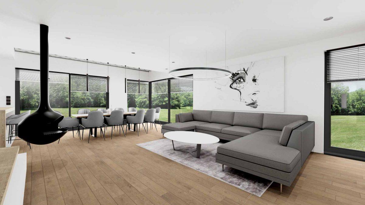 Vizualizacija moderne dnevne sobe in jedilnice