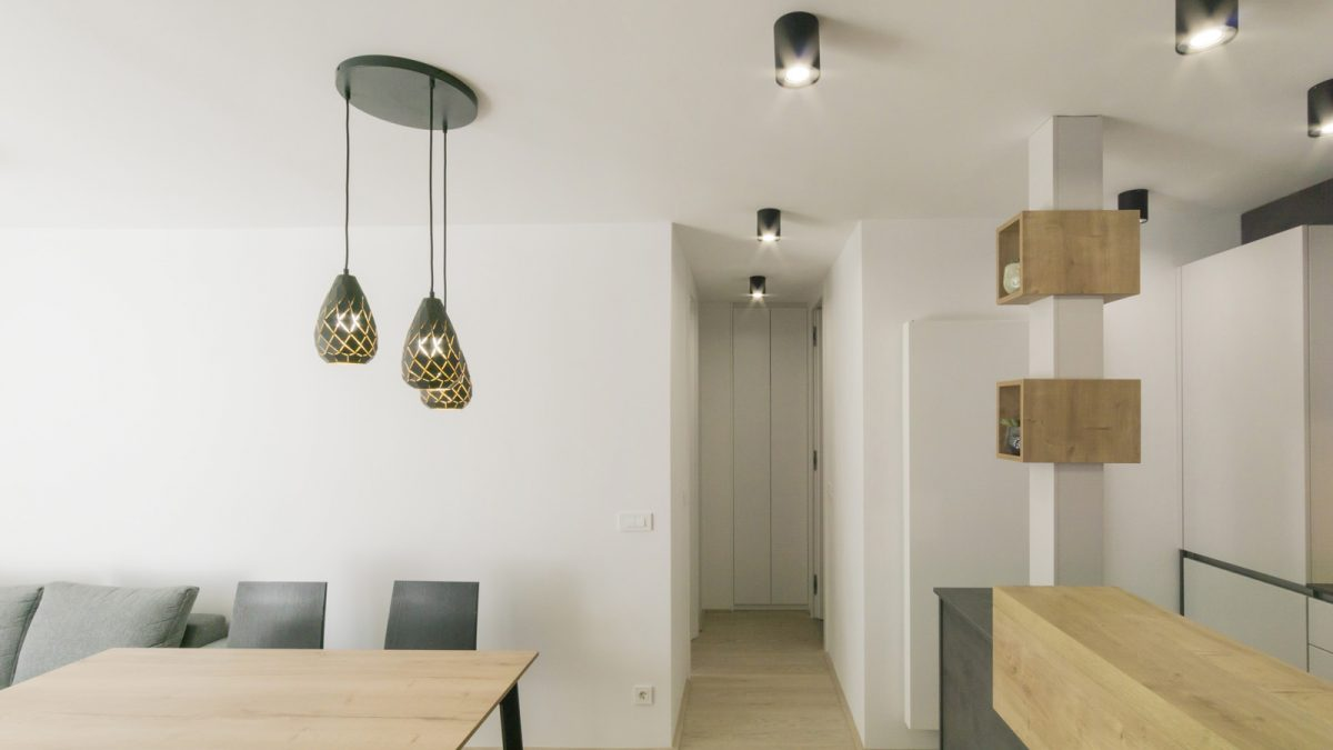 Contemporary dining room and kitchen